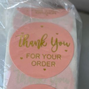 500 Peach & Gold Thank you Stickers/Labels